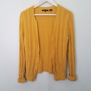 Mustard cable knit cardigan S cuff sleeve